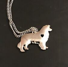 Border Collie Dog Heart Love Sheepdog Pendant Charm Necklace 18'