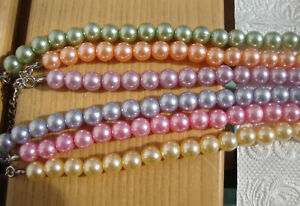 Schöne Halskette Perlenkette Pastelltöne in 6 Farbvarianten neu zu verkaufen