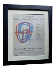 ELTON JOHN+TAUPIN+Two Rooms+POSTER+AD+ORIGINAL 1991+FRAMED+EXPRESS GLOBAL SHIP