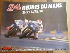 POSTER OFFICIEL ** 24 HEURES DU MANS 1990 MOTOS **  AFFICHE ACO MOTO LE