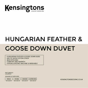 Hungarian Goose Feather & Down Duvet Single Double King Super King All Togs Size