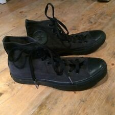 Negro Converse Star Hi-Top Lona All Entrenadores de Baloncesto UK 8/41.5 Casi Nuevo