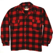 VTG Bell Sportland Mens Shirt Jacket L Red Black Buffalo Check Lumberjack Wool