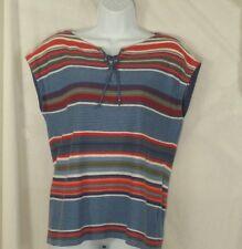 Small Shirt CHAPS Womens Blue Striped Cap Sleeve Linen Blend NEW