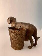 Saint Bernard Bronze Resin Dog Carrying Two Baskets with Base