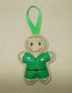 Ambulance/Paramedic (emerald green) Gingerbread Felt Hanging decoration ornament