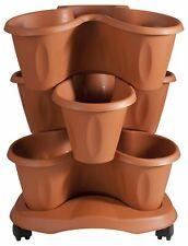 Set 3 Vasi Trifoglio Per Piante 6 Litri Con Sottovaso e Ruote Di Terracotta Bama