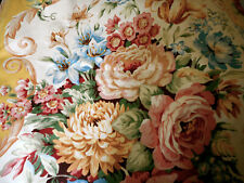 Vintage English Floral Medallion Furnishings Fabric ~ Rose Coral Blue Mustard