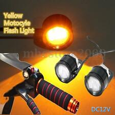 Motorcycle ATV LED Mirror Decor Warming Flash Strobe Light License Plate Yellow