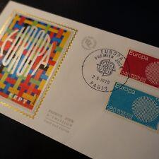 FRANCIA SELLO EUROPA Nº1637/1638 CARTA COVER SEDA 1er DÍA FDC 1970