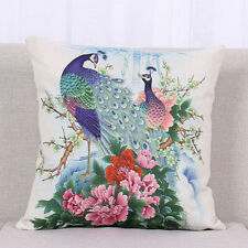 Ink Painting Peacock Home Sofa Decor Throw Pillow case Cushion Cover Pillowcase
