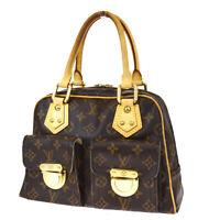 Auth LOUIS VUITTON Manhattan PM Hand Bag Monogram Leather Brown M40026 83BS109