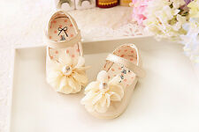 New Baby Girls Christening Shoes in White, Pink,Blue Cream 6 9 12 15 18 21Months