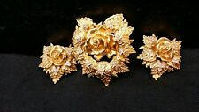Avon ELIZABETH TAYLOR Passion Flower Rose Rhinestone Pin & Clip Earring