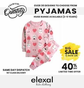 Pure Cotton Girls Boys Pyjama Set Sleepsuit Bodysuit 3-5y Strawberry Snug Fit