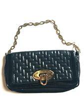 "Bally Runway Auth Black Leather Handbag Clutch Bag Purse Chain silver 9""x 4.5"""