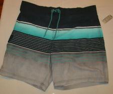 New listing Men's George Black Blue Gray Stripe E-Borad Swim Shorts Size 2XL