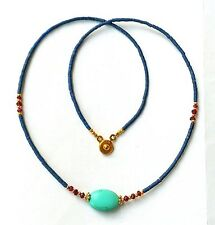 Afghan Natural Lapis, Turquoise & Garnet Tiny Seed Beads Necklace Gold Plated