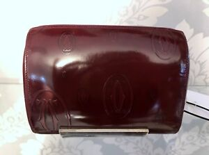 CARTIER Happy Birthday Burgundy/Bordeaux Patent Leather Cosmetic Case