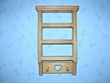 "14"" x 8""  Shelf Display Wood Home Decor Heart Curio Shadow box 2 pegs wall"