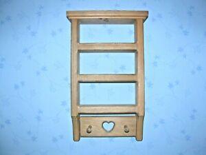 "14"" x 8""  Shelf Display Wood Home Decor Heart Curio Shadow box 2 pegs wall"