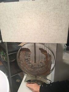 "AMBLER COASTAL LODGE LIVING 29"" POLISHED NICKEL METAL TABLE LAMP FAUX DRIFTWOOD"
