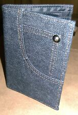 Blue Denim Fold Up Wallet for Coin Notes Credit Cards ID Card, NEW Great Present