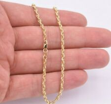 3mm Puffed Mariner Acnhor Chain Ankle Anklet Real 10K Yellow Gold 10""