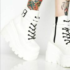 Ladies Punk Platform Wedge Heels Ankle Boots Lace Up Buckle Shoes Cos Booties UK