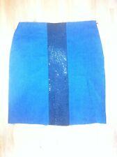Ladies CHARLIE BROWN Dark Blue Denim Skirt Size 14 Black Sequin Strip
