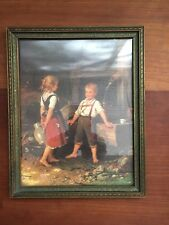 Young Bavarian Boy and Girl at Wooden Well Barefoot Country Framed Print 7x 9