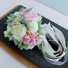 Fabric Pink&Ivory Rose Peony Flower Bouquet Wedding Bridal Bouquet