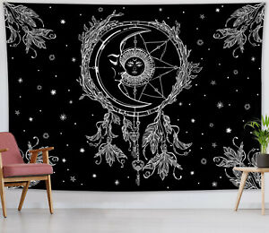 Black White Boho Sun Moon Dream Catcher Tapestry Wall Hanging Bedspread Cover