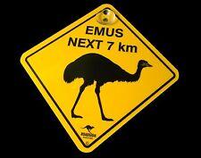 Australian Made Souvenir Roadsign Car Window Suction Swing Sign EMUS