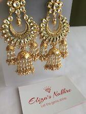 White Vilandi Khundan Jumki Earrings Indian/Pakistani Bollywood Style Jewellery