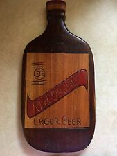 Red Stripe Lager Beer Sign Wood Handmade Folk Art Man Cave Bar Advertising