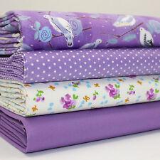 FQ x 4 LOTE agapornis lunares & Flores Púrpura/malva 100% Tela De Algodón