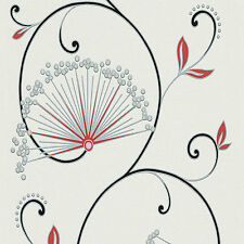 San Francisco Glitter Vinyl Wallpaper Mixture of Blossoms Cream Metallic Red