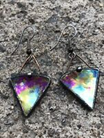 Antique Boho Gypsy Bells Triangle shape Red Carnival Glass Hand Crafted Earrings