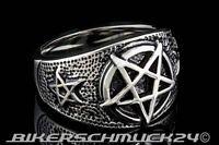 Pentagramm Ring mit 3 Pentagrammen Edelstahl Herren Damen Siegelring Geschenk