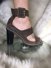 Jo Mercer khaki suede,open toe,high heels/sandales.Size 8.B/new