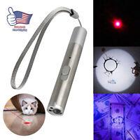 3in1 USB Rechargeable Light Torch Mini Red Laser Pointer Pen Pet Cat Kitten Toys