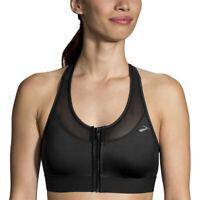 Brooks Womens FastForward Zip Running Sports Bra Black Breathable