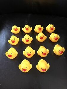 """Lot Of 14 Rubber Duck 2"""" Duckie Ducky Bath Toy Party Favor Filler Baby Shower"""