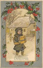 Christmas~Boy Carries Package in Blowing Snow~House~Water Pump~Mint Green~BW 323