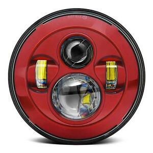 """Eagle Lights Red 7"""" Round LED Projection Headlight for Harley Davidson"""