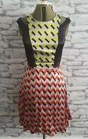 Woman's River Island Black Zig Zag Pattern dress size 12 uk by Julian J Smith