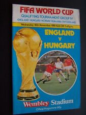 ENGLAND V  HUNGARY 18/11/1981   PROGRAMME PLAYED @ WEMBLEY