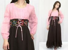 Vintage 60s Pink Brown Gauze Embroidered Empire Hippie Boho Maxi Dress~Xs/S