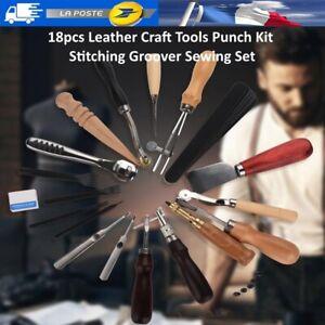 18pcs outils de bricolage en cuir kit de perforation pour couture Groover Set FR